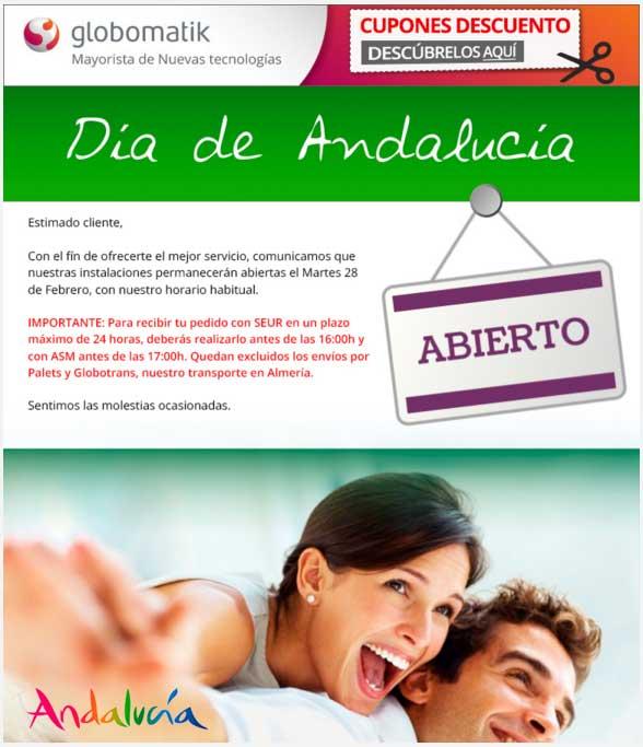 globomatik mayoristas informatica, día de Andalucía