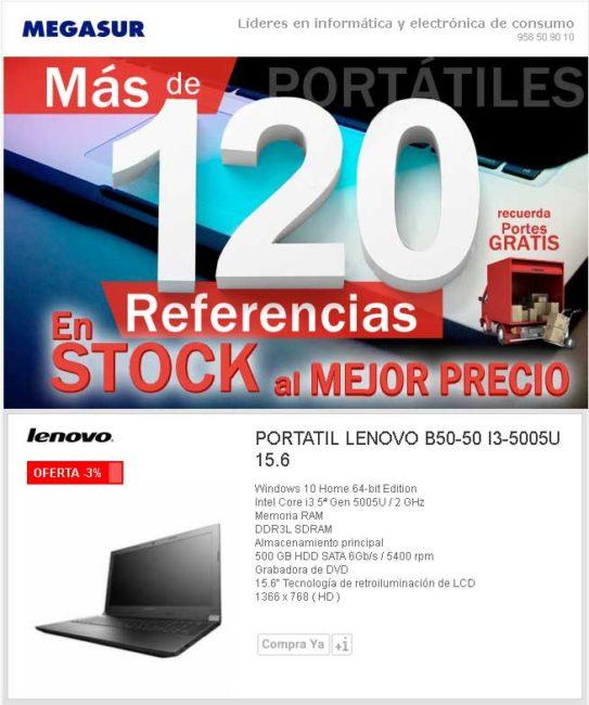 """Portátil lenovo b50-50 i3-5005u 15.6"""" 4GB 500GB WIFI w10"""