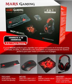 PACK TECLADO-MOUSE-PAD-HEADSET MARS GAMING MACP1 KIT 4 EN 1 DE TECLADO ANTI-GHOSTING MOUSE 2800DPI 6 BOTONES PAD GAMING HEADSET 40mm CON MICRO PLEGAB