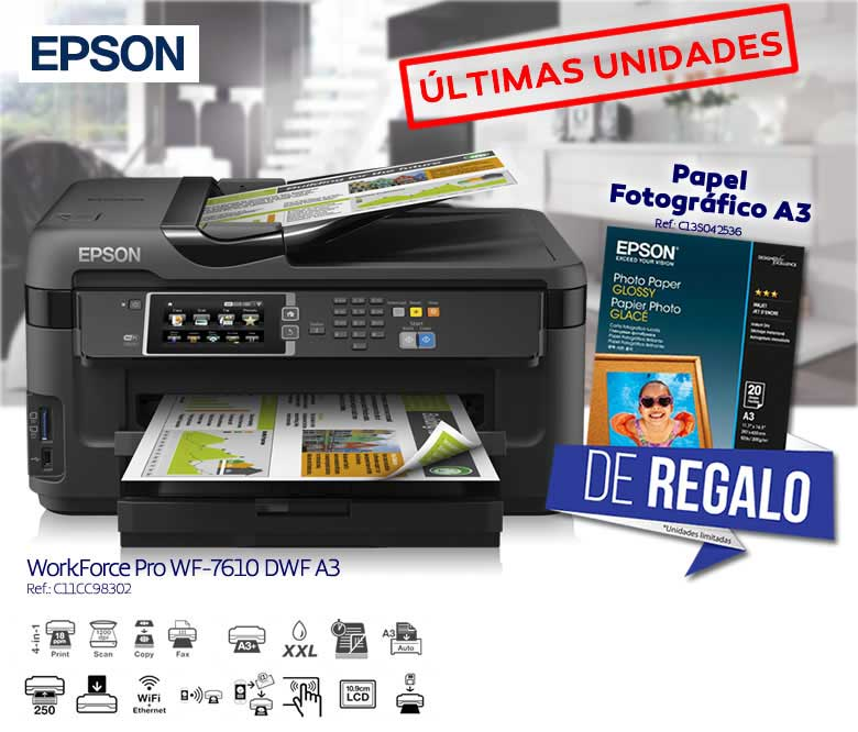 MULTIFUNCION EPSON WORKFORCE WF-7610DWF A3 WIFI FAX