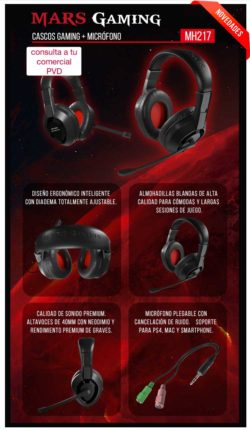 HEADPHONE MARS GAMING MH217 USB SORROUND 7.1