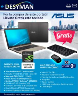 oferta portatil asus con teclado wireless de regalo