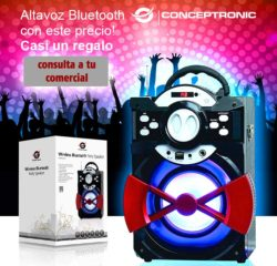 ALTAVOZ CONCEPTRONIC BLUETOOTH REPRODUCE MP3 DESDE USB/MICROSD RADIO FM LUCES LED MANDO A DISTANCIA