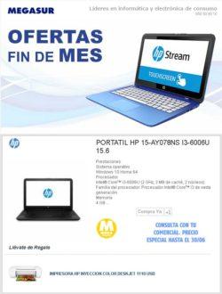 """precio Portátil HP 15-ay078ns i3-6006u 15.6"""" 4GB 500GB WIFI BT w10"""