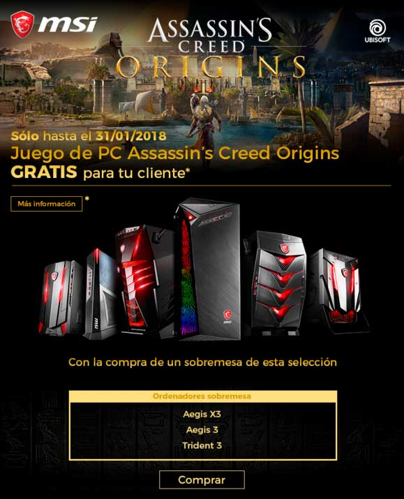 promo MSI y Asssins Creed Origin