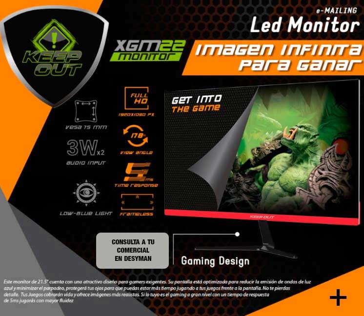 "MONITOR GAMING 21.5"" KEEP OUT XGM22 FULL HD 1920X1080 75Hz 5MS 250 cd/m² VGA DVI HDMI"