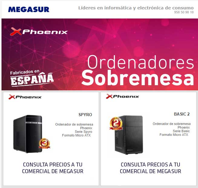 ordenadores phoenix en megasur