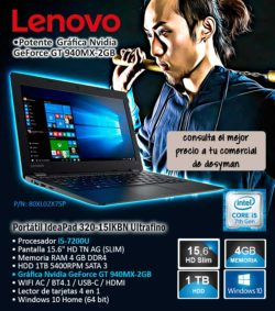 "PORTATIL LENOVO IdeaPad 320-15IKBN i5-7200U 15.6"" 4GB 1TB GeFORCE GT940MX-2GB USB-C W10 COLOR ONYX BLACK DISEÑO SLIM"