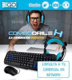 3GO combodrile, bundle teclado, raton y auriculares