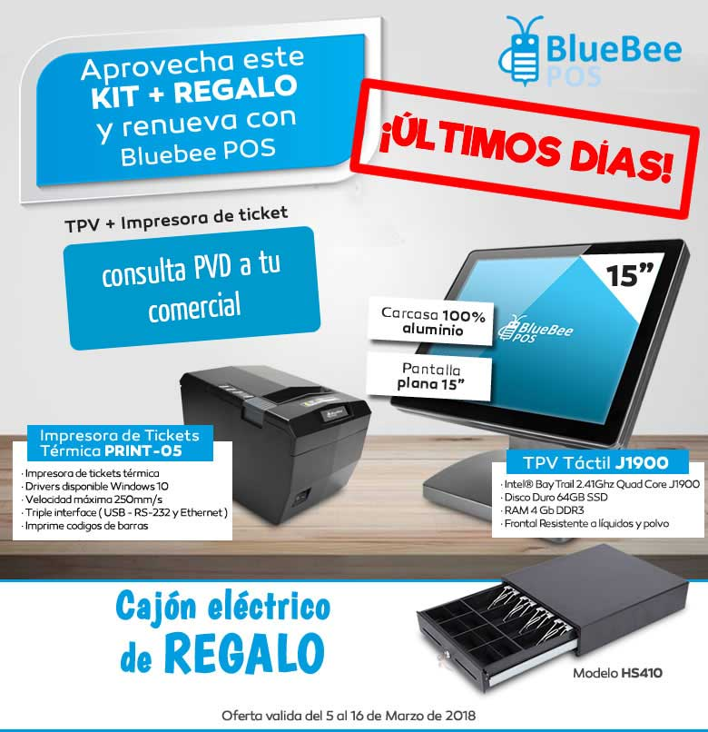 kit tpv bluebee más cajon regalo