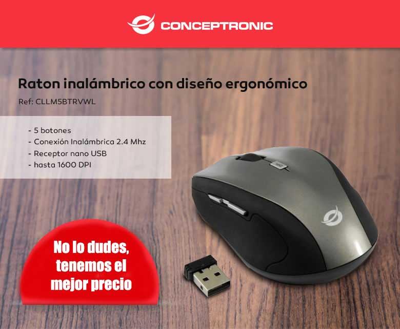 comprar RATON INALAMBRICO CONCEPTRONIC NEGRO 5 BOTONES