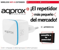 WIFI-REPETIDOR + ACCES POINT + CLIENT MODE 300MB 2.4GHz DIRECTO A ENCHUFE APPROX APPRP01V5