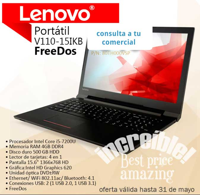 "oferta PORTATIL LENOVO V110-15IKB i5-7200 4GB 500GB DVDRW HDMI ""FREEDOS"" 1.9KG BATERIA 6horas"