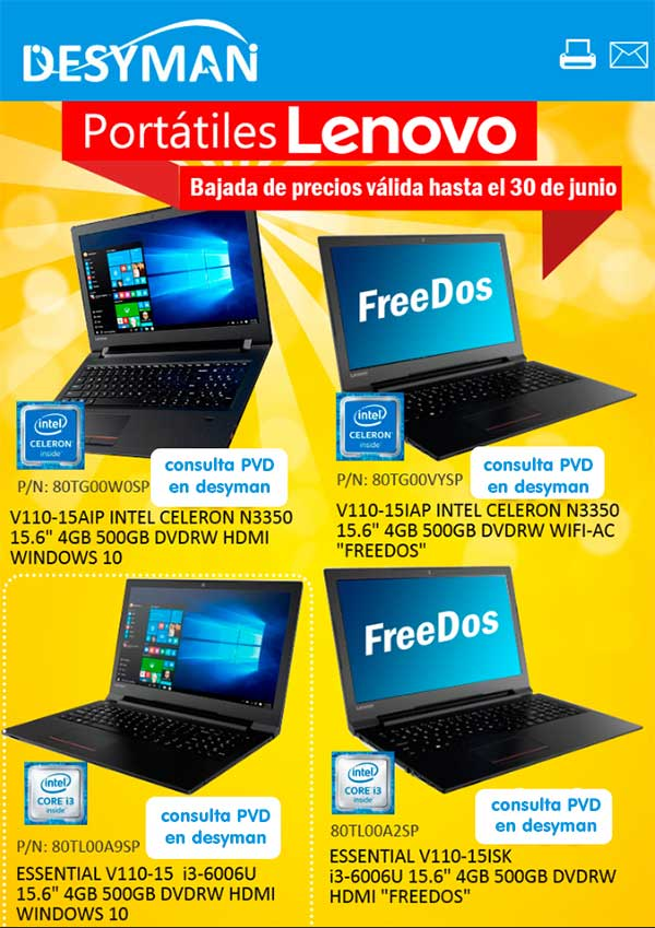 bajada de precios en portátiles Lenovo