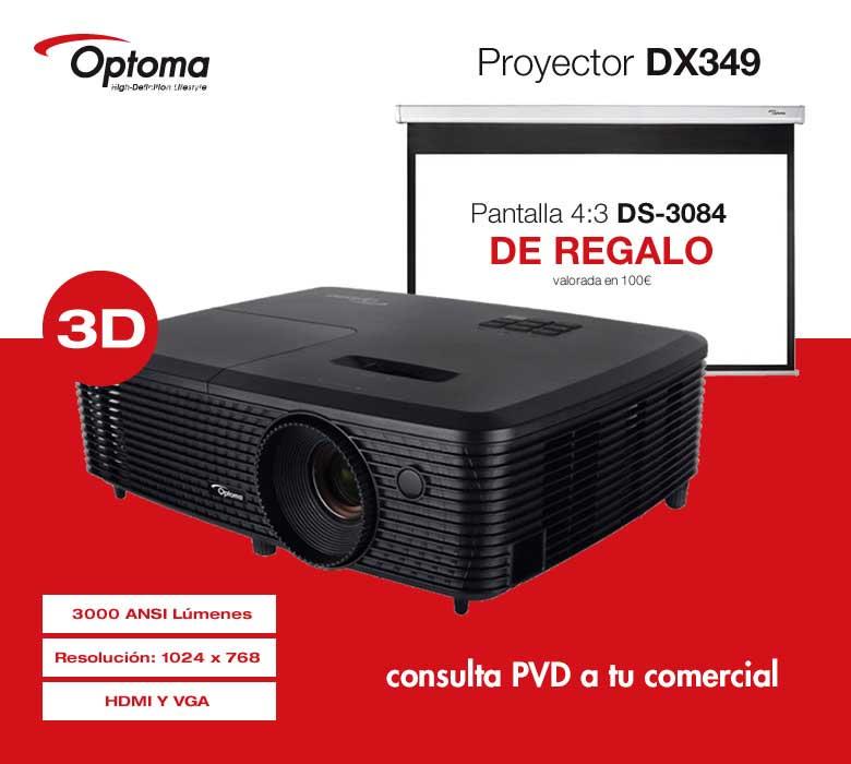 PROYECTOR OPTOMA DX349 DLP 3000LUM XGA + PANTALLA