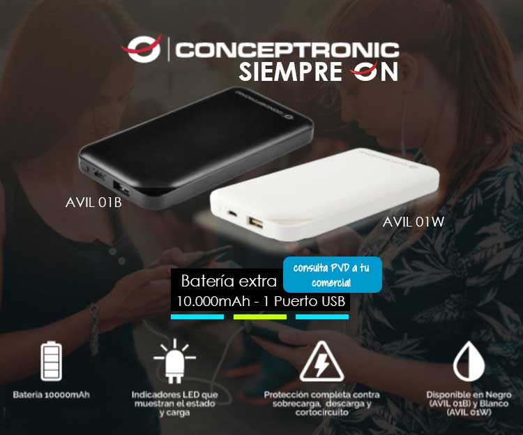 AVIL 01B - POWERBANK CONCEPTRONIC 10.000mAh 1 PUERTO USB (5V 2A) COLOR NEGRO
