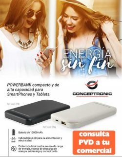 POWER BANK CONCEPTRONIC 10000MAH NEGRO