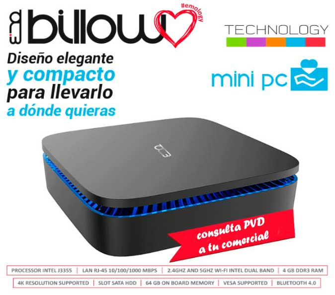 ORDENADOR XMINI BILLOW CPU INTEL J3355 4GB DDR3 64GB INTERNAS SLOT SATA WIFI DUAL BAND RJ45 1GB TYPE C INPUT BT.4.0