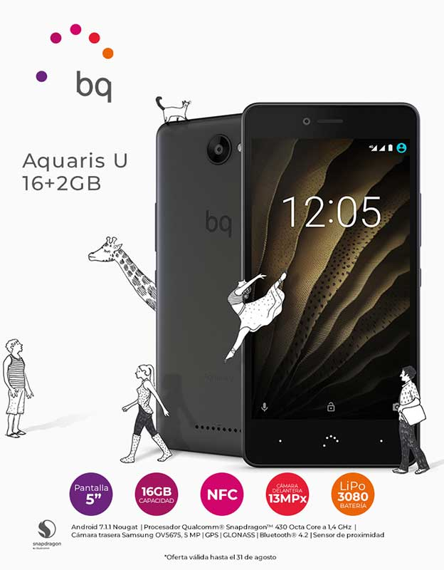 TELEFONO MOVIL BQ AQUARIS U 16+2GB NEGRO