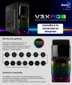 CAJA SEMITORRE AEROCOOL GAMING V3X RGB PGS SERIES 1xUSB 3.0 1xUSB 2.0 VENTILADOR DE 12CM ILUMINACION FRONTAL RGB