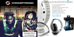 HEADSET CONCEPTRONIC BLUETOOTH PARRIS CON FUNCION MANOS LIBRES RADIO REPRODUCE DESDE MICROSD COLOR BLANCO