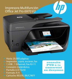 MULTIFUNCION OFFICEJET PRO 6970 v2 ETHERNET DUPLEX FAX ADF 30/26PPM LCD TACTIL CARTUCHO 903/XL BK/C/M/Y