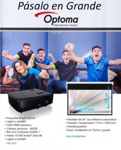 PROYECTOR OPTOMA S321 3200 LUMENS SVGA 800x600 RS-232 CONTRASTE 22000:1 LAMPARA 8.000 HORAS