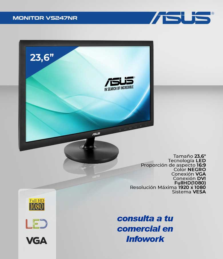 """MONITOR 23.6"""" LED ASUS VS247NR FULLHD DVI-VGA"""