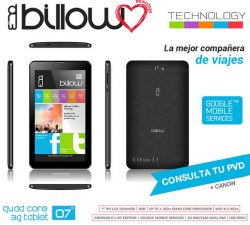 "TABLET BILLOW 7"" IPS 1024x600 QUAD CORE 1.3GHZ 8GB 1GBDDR3 DUALSIM 3G WIFI DUALBAND ANDROID 8.1 DOBLE CAMARA COLOR"