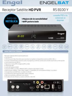 RECEPTOR SATELITE HD ENGEL RS8100Y HDTV, HDMI , PVR , IPTV, USB 2.0 , WIFI, LAN, TIMESHIFT, EPG, DVB S2