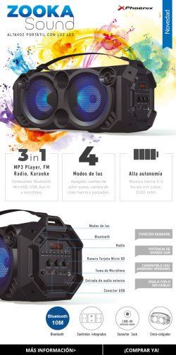Altavoz portátil Phoenix phzookasound 24w con luz LED bluetooth radio FM USB microsd aux-in entrada de microfono