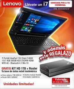 """PORTATIL LENOVO IdeaPad 110-15isk i7-6500 15.6"""" 4GB 500GB DVDRW HDMI WIFI-AC W10"""