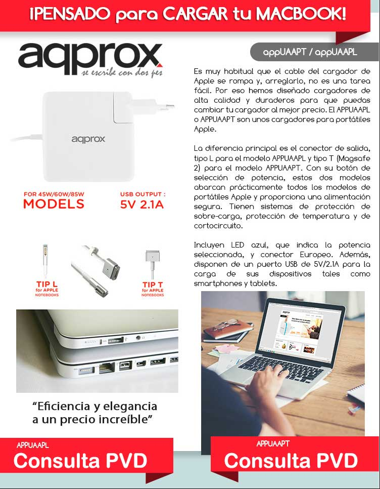 cargador apple macbook repuesto