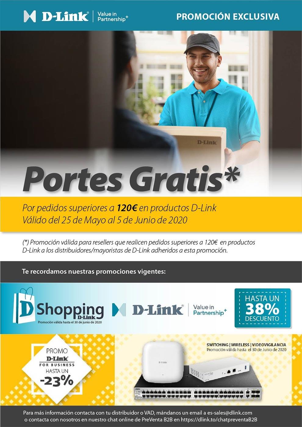 portes gratis por la compra de productos D-Link