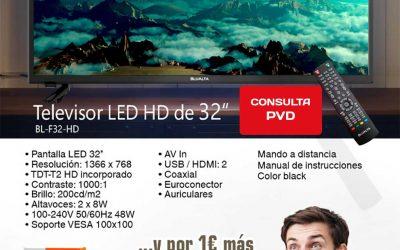 Blualta 32″ el LED de alta definición ahora con soporte de regalo