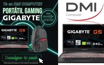 Portátil gaming Gigabyte con mochila gratis en DMI